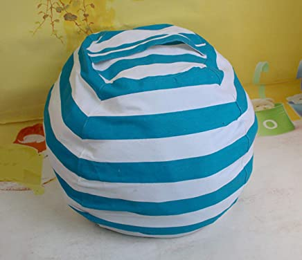 OOFAYWFD Canvas Stuffed Animal Storage Bean Bag Chair Kids Plush Toy Clothes Quilts Organizer 4 Small