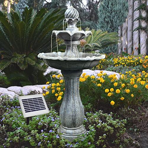 AMUR Solar Gartenbrunnen Brunnen Solarbrunnen Klassik-Garten Zierbrunnen Wasserfall Gartenleuchte Teichpumpe für Terrasse, Balkon, verbessertes Modell mit Pumpen-instant-Start-Funktion