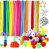 Hicdaw 470Pcs Pipe Cleaners Craft Pipe Cleaners Included 120 Pipe Cleaners 150 Wiggle Eyes 200 Pom Poms for DIY Art Craft Decorations Gift for Kids