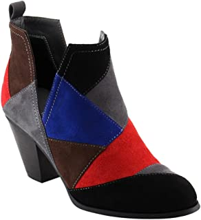 Nature Breeze FF46 Women's Slip On Patchwork Chunky Block Heel Ankle Booties Black Multi