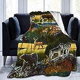 Manta de montaña Nature Bear Nature Moose Micro Fleece Throw Cubrecamas súper Suave y liviano Resistente a Las Arrugas