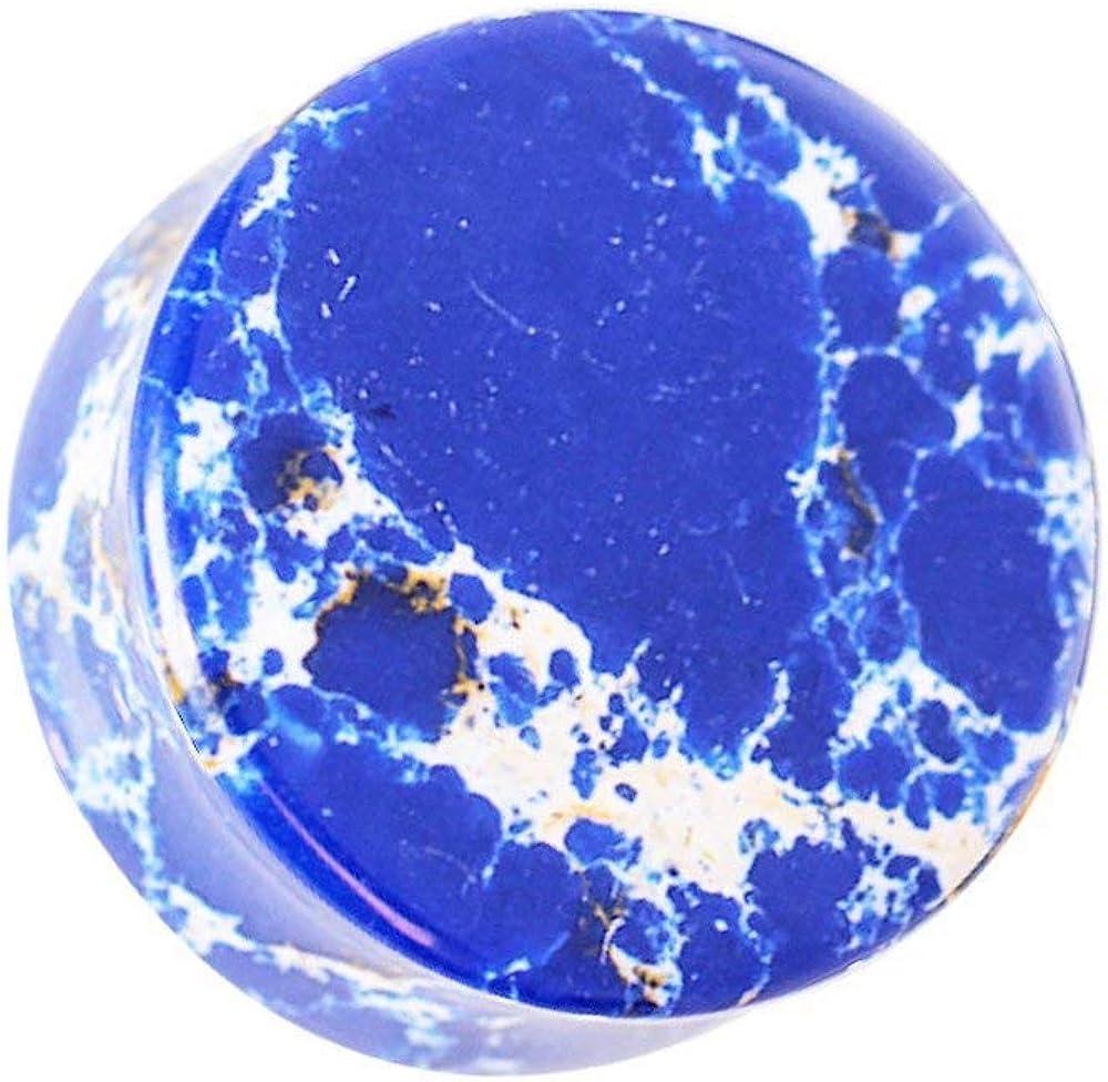 Covet Jewelry Blue Imperial Jasper Stone Saddle Plug