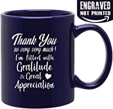 Novelty Ceramic Mug for Saying Thank You So Very Very Much ! 11 oz Cobalt Engraved Both Sides Ceramic Coffee Mug, Gifts for Family, Friends, Coworkers,Teacher,Boss