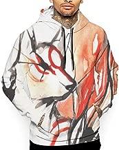 Men's Long Sleeve Hoodie Sweatshirt Okami Print Pullover Shirt Blouse