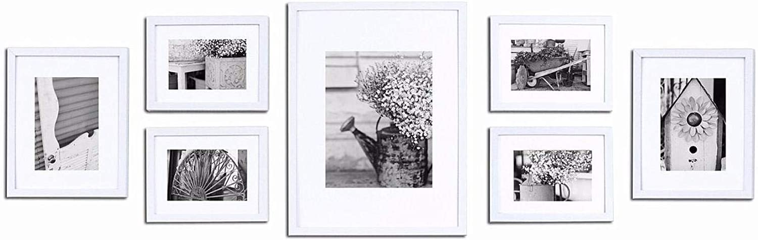 7-Piece White Wood Wall Frame Kit by Gallery Solutions? -
