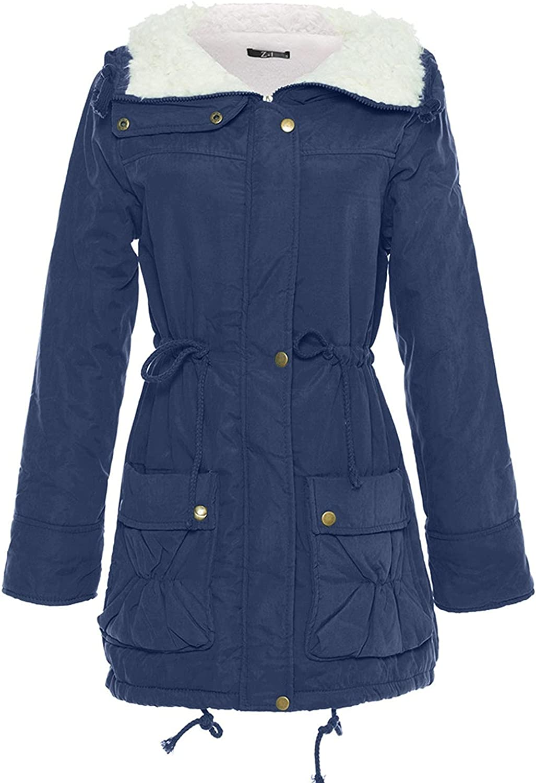 Winter Pure Color Warm Mid-Long Coats For Women Loose Zipper Jacket Hooded Cinched Waist Outwear Lightweight