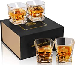KANARS Rocks Glass Square - Pacific Whiskey Glass Tumbler Heavy Base - Lead Free Crystal - Scotch Glass for Bourbon or Whisky - Unique Luxury Gift Box - 9 Oz Set of 4