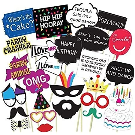 Party Propz Birthday Photo Booth Props 26Pcs Set with Funny Crown Fun Mask Hats Beard Happy Face Wig Mustache Prop for Boys Girls Kids Selfie Photobooth,Birthdays Parties Items Decorations Supplies