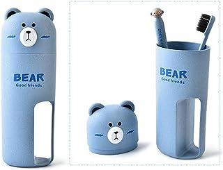 whatUneed, set con spazzolino e porta spazzolino da viaggio, tazza porta spazzolino a forma di orso Blue