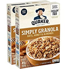 Twin pack includes 2 boxes for Oats, Honey and Almonds Granola Good Source of Fiber to Quaker Oats provide a good source of fiber to support a healthy digestive system. See nutrition facts for total fat per serving 5 grams of Protein Very low in sodi...