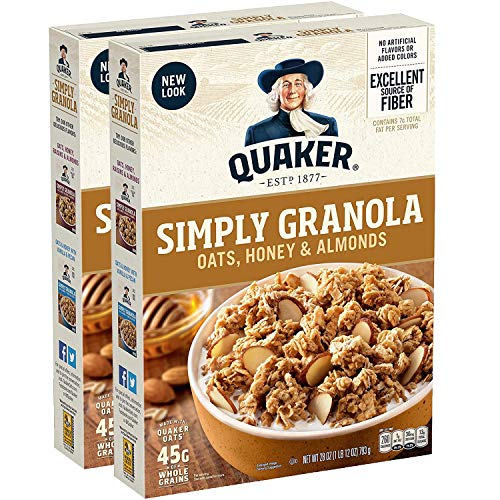 Quaker Simply Granola, Oats Honey & Almonds, 28oz Boxes (2 Pack)