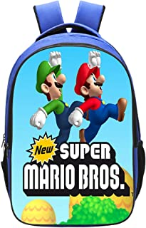 Qushy Super Mario Kid Adult Backpack Schoolbag Bookbag Daypack Blue Type