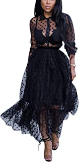 Women's Sexy Lace See Through Flared Mesh Flowy Long Maxi Dress Party Clubwear