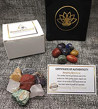 Chakra Stones and Crystals Set of 14 Pieces Natural Healing Crystal Collect Kit with 7 Tumbled Stones and 7 Rough Raw Gemstones Crystals