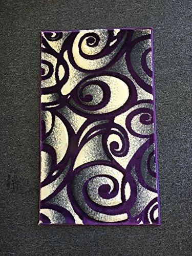 Contempo Modern Door Mat Area Rug Purple & Grey 400,000 Point Design #341 (2 Feet X 3 Feet 4 Inch Purple Trim)
