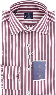 Luigi Borrelli ストライプ ボタンダウン スプレッドカラー コットン スリムフィット ドレスシャツ