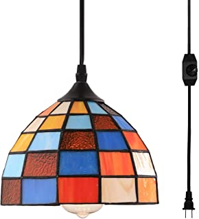 HMVPL Tiffany Style Pendent Ceiling Light With 164 Ft Plug In Cord And On Off