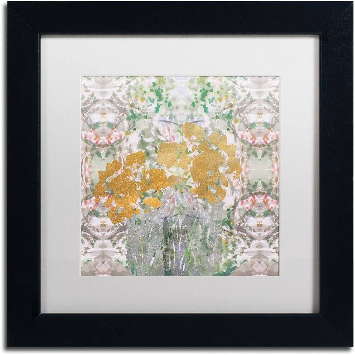 Trademark Fine Art Floral Abstract by Lisa Powell brown Wall Art, White Matte, Black Frame 11x11