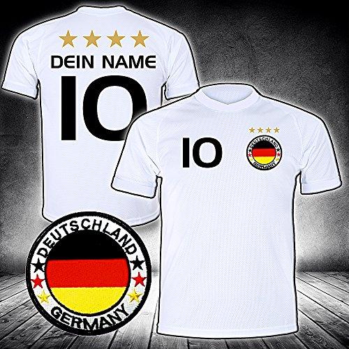 Deutschland Trikot mit GRATIS Wunschname Nummer Wappen Typ #D26 günstig im EM/WM Weiss - Geschenke für Kinder,Jungen,Baby. Fußball T-Shirt personalisiert