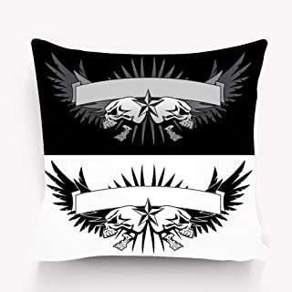 WiNjTyMOYO Throw Pillow Cushion Cover Skull Wings Banner Tattoo Style Graphic Aggressive Skeleton Skulls Spread Wide Evil grin Your Text Decorative Square Accent Pillow Case 18 X 18 inches