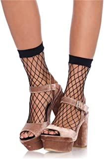 Leg Avenue Calcetines tobilleros para mujer Calcetines tobilleros de malla rugosa Negro Talla única