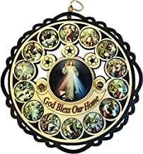 Holy Land Market Divine Mercy God Bless Our Home Wooden Wall Plaque with Holy Samples and Stations of The Cross Icons (11 inches Diameter)