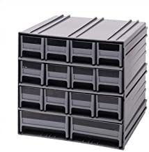 Quantum QIC-12123RD Interlocking Gray Storage Cabinet with 14 Red Drawers, 11.38-Inch by 11-3/4-Inch by 11-Inch