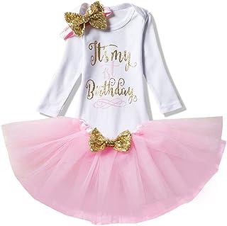 OwlFay Bambina Ragazza Primo 1 /° Compleanno Vestito da Compleanno Tutu Principessa Abito per Festa Unicorn Corona Pagliaccetto Fascia 3 Pezzi Abbigliamento Fotografia Costume Gonna