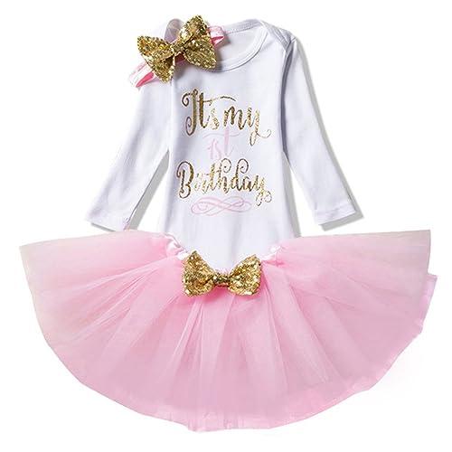 3pcs Fille Bébé Princesse Robes Set de Vêtements pour Fête pour Fille 1er / 2ème anniversaire Barboteuse + Bandeau de cheveux + Robes Tutu