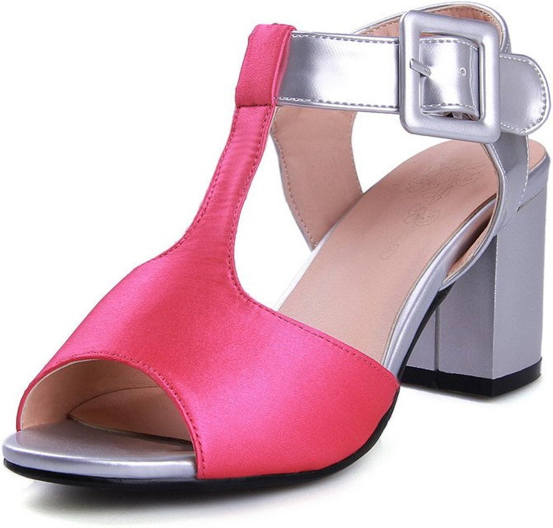 WeenFashion Women's Soft Material Buckle Open Toe Kitten-Heels Solid Platforms & Wedges