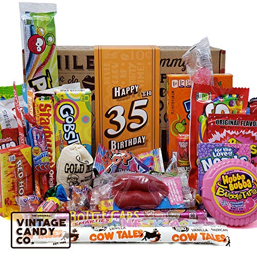 VINTAGE CANDY CO. 35TH BIRTHDAY RETRO CANDY GIFT BOX - 1985 Decade Childhood Nostalgic Candies - Fun Funny Gag Gift Basket - Milestone 35 Birthday PERFECT For THIRTY FIVE Year Old Man | Woman