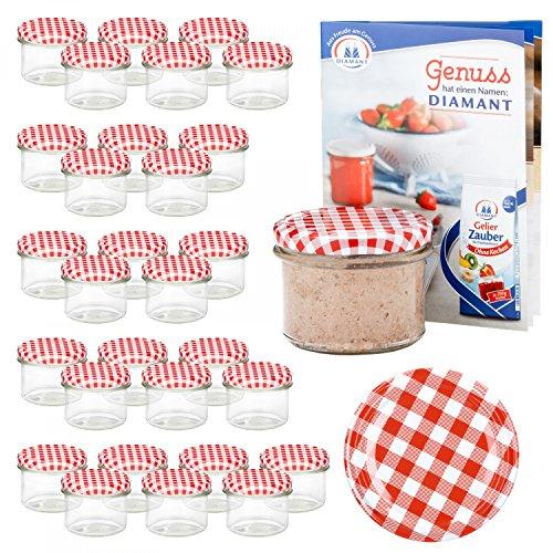 Van Well Set van 30 inmaakpotten 235 ml deksels rood-wit geruit incl. Receptenboekje | weckpotten voor fruit en jam | weckpotten