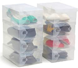 10 Pack of Clear Corrugated plastic Shoe storage boxes for Ladies and Men - Plastic Foldable and Clear Boxes by Kurtzy- Ideal for Travel
