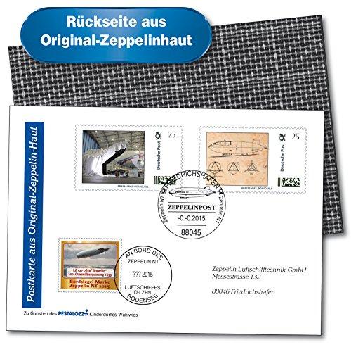 Zeppelin NT 'Bodensee' | Postkarte aus Original-Zeppelinhaut | Beleg |Rundflug Markdorf, Salem & Meersburg | frankiert |Selbstklebemarke |Kostruktionsskizze | Postsonderstempel |Bordsiegel-Marke |Bordstempel