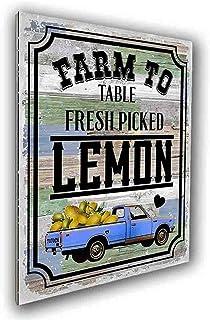 vizuzi Farm to Table Fresh Picked Lemons Wood Wall Art Plaque, for Home Bar Coffee Wall Decor Gifts, Best Retro Signs Deco...