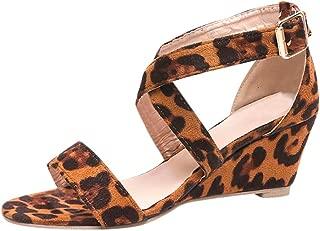 Women's Summer Ankle Strap Buckle Low Wedge Platform Heel Sandals Fashion Design Pump Shoes (US:9, Coffee-2)