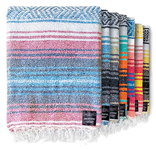 Authentic Mexican Blanket - Picnic Blanket, Handwoven Serape Blanket, Perfect as Beach Blanket, Picnic Blanket, Outdoor Blanket, Yoga Blanket, Camping Blanket, Car Blanket, Woven Blanket (Azure)
