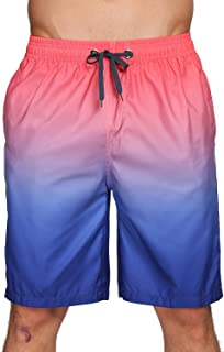 Mens Board Short Pants No Mesh Lining Quick Dry Swim Trunks Long Elastic Waistband Swimwear Bathing Suits with Pockets