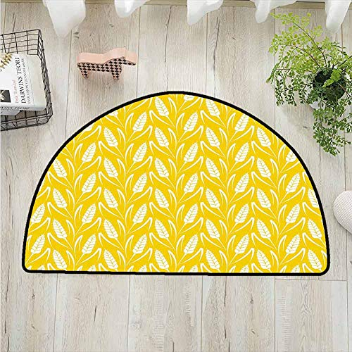 DESPKONMATS Yellow and White Livingroom Rug,Growing Rye Field Silhouettes of Wheat Ears Whole Grain Natural Printing Mat,Bedroom Bathroom Washable Machine,W39.4 x R23.6 Inches Earth Yellow White