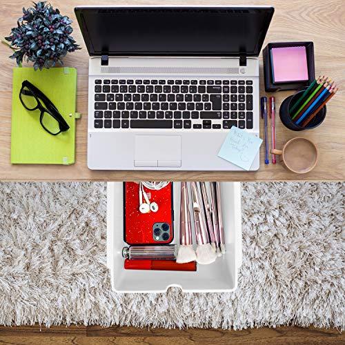 Xnuoyo Caja de Almacenamiento Oculto, Organizador Cajones Escritorio Caja Bolígrafos Almacenamiento Bandeja Autoadhesiva para Lápices para Oficina y Escritorio Bolígrafos