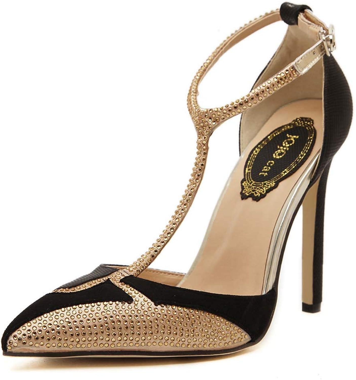 CFPPX CFPPX CFPPX Woherrar high Heel T Word with Pointed Rhinestone Stiletto Sandals  butiken gör köp och försäljning