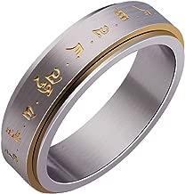 HIJONES Men's Stainless Steel Buddhist Gold Mantra Pattern Spinner Lucky Ring