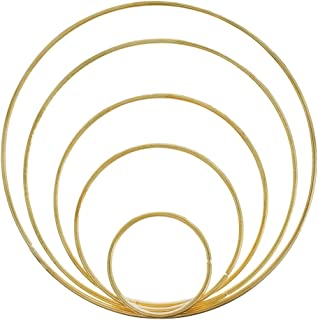 West Coast Paracord Metal Craft Hoops Dream Catcher Rings Metal Macrame Steel Hoops for Dreamcatchers, Macrame Projects, Wreaths, 10 Pieces in 5 Different Sizes (Gold)