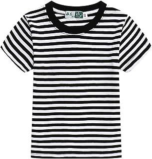 Airvid Unisex Kids Classic Striped T-Shirt Girls Boys Crewneck Cotton Jersey Tee