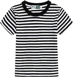 Unisex Kids Classic Striped T-Shirt Girls Boys Crewneck Cotton Jersey Tee