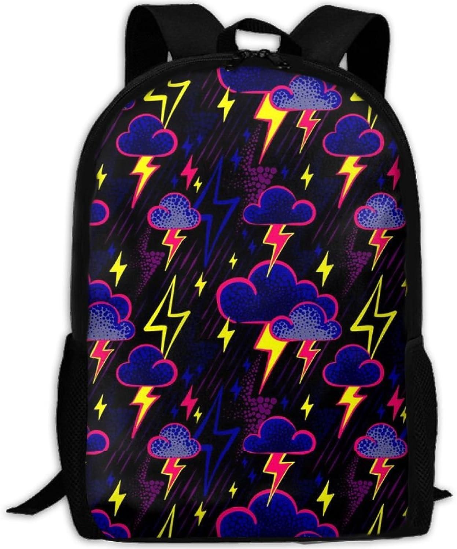 Adult Backpack Lightning Clouds College Daypack Oxford Bag Unisex Business Travel Sports Bag with Adjustable Strap