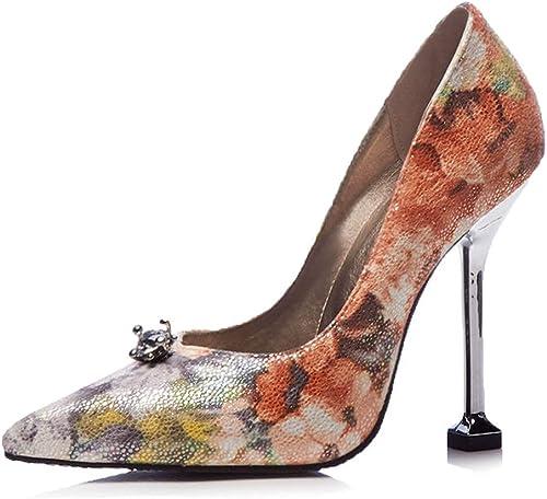 Wthfwm zapatos de tacón Alto para mujer Tacones de Aguja Puntiagudos Hauszapatos de Noche de Cuero sin Cordones Dama de Color Sexy zapatos de una Cucharada