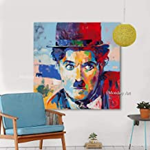 SANSNMI Art Handpainted Modern Figure Canvas Oil Painting Charlie Chaplin Wall Pictures For Living Room Home Decor Paintin...