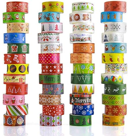 Christmas Washi Tapes 48 Rolls 15mm Wide Masking Tape Set Covering Different Christmas Holiday product image