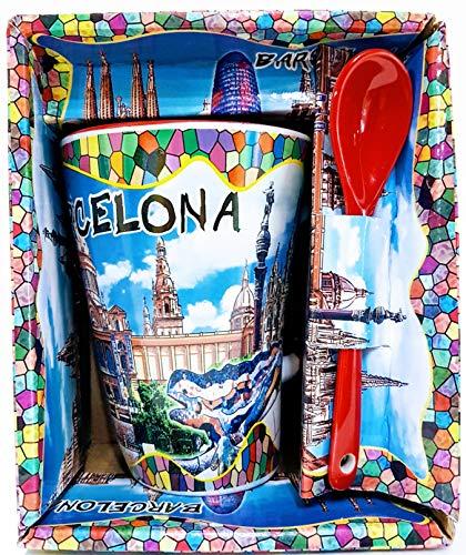 MI RINCON Taza DE Cafe Grande Motivo Gaudi - BCN, Cuchara ROJA